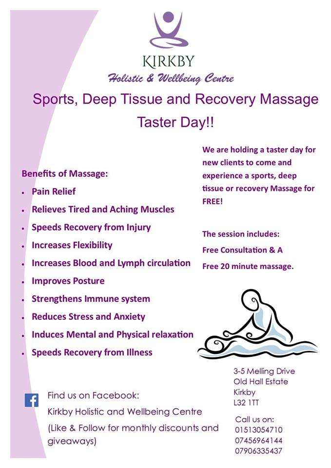 Image showing benefits of a Sports Massage.